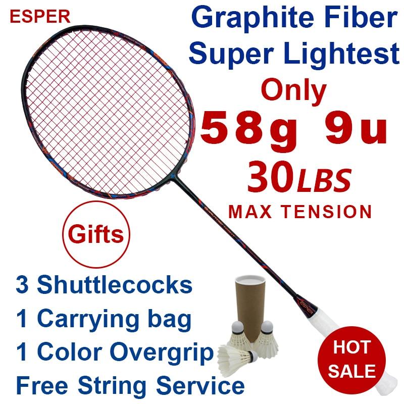 Raquette de Badminton en Fiber de carbone Esper 58 grammes 9U raquette professionnelle en Graphite la plus légère avec ficelle 30LBS pour adulte