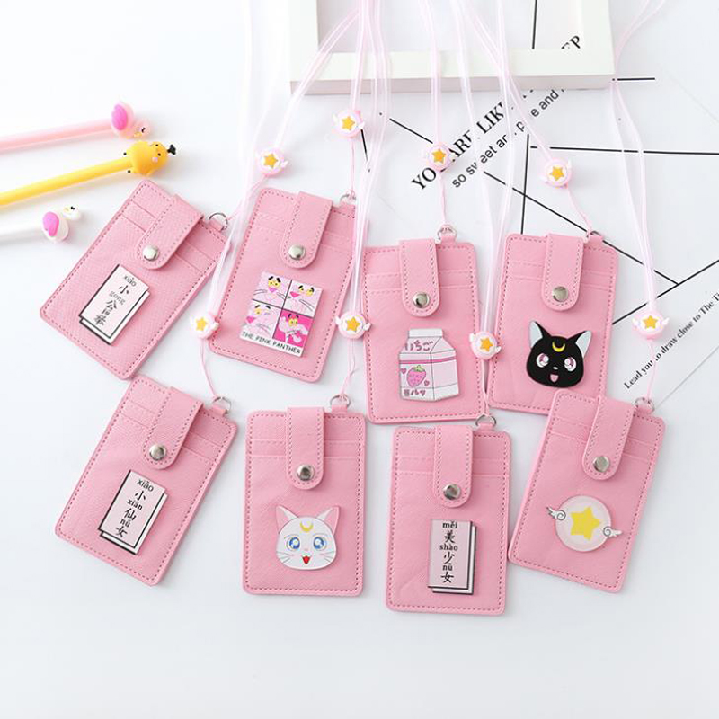 1 Pcs Cute PU Pink Panther Sailor Moon Cat Wings Star Girls Bus Cards Case Students Girl ID Bank Credit Card Holder Stationery