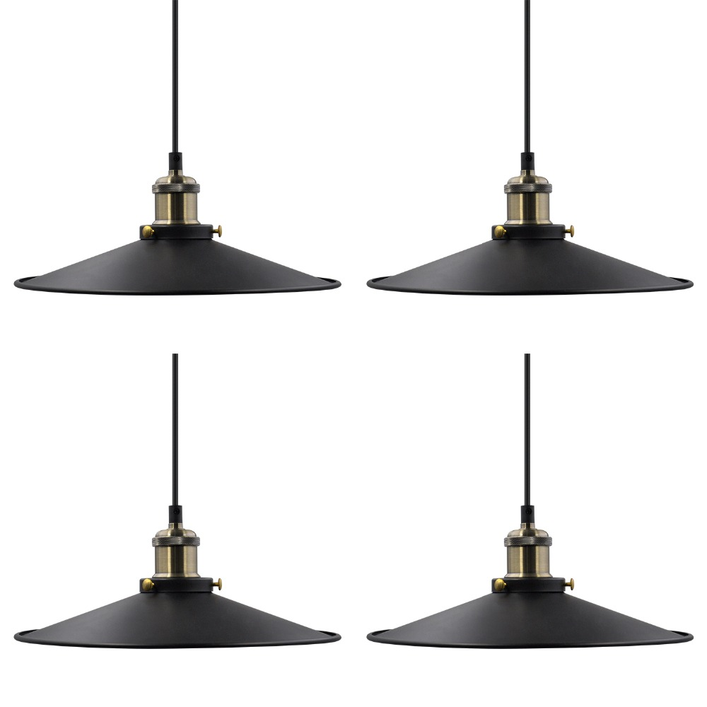 Us 32 99 Vintage Kitchen Island Dining Room Black Metal Pendant Lamps Hanging Light Shade Fixtures Maximum 2 Meters Suspension Height E27 In