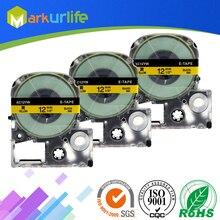 """3 шт./лот кассеты совместим с Epson LW-300 LW-400 LW-600P LW-700 LC-4WBN9 принтера """"Mei Qing""""(12 мм х 8 м, черный на желтом цвете"""