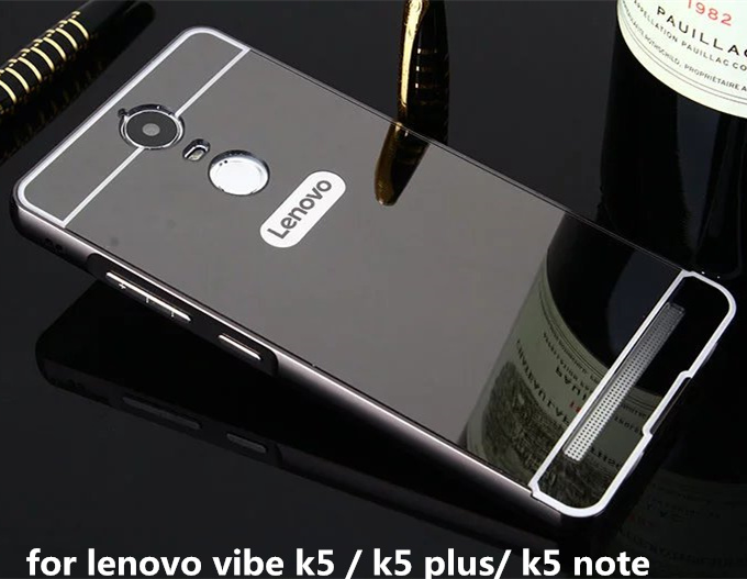 For Lenovo K5 Note A7020 Plating Metal Mirror Aluminum Frame PC+Acrylic Case on For Lenovo Vibe K5 A6020/ K5 Plus Lemon 3 K32C36 ...