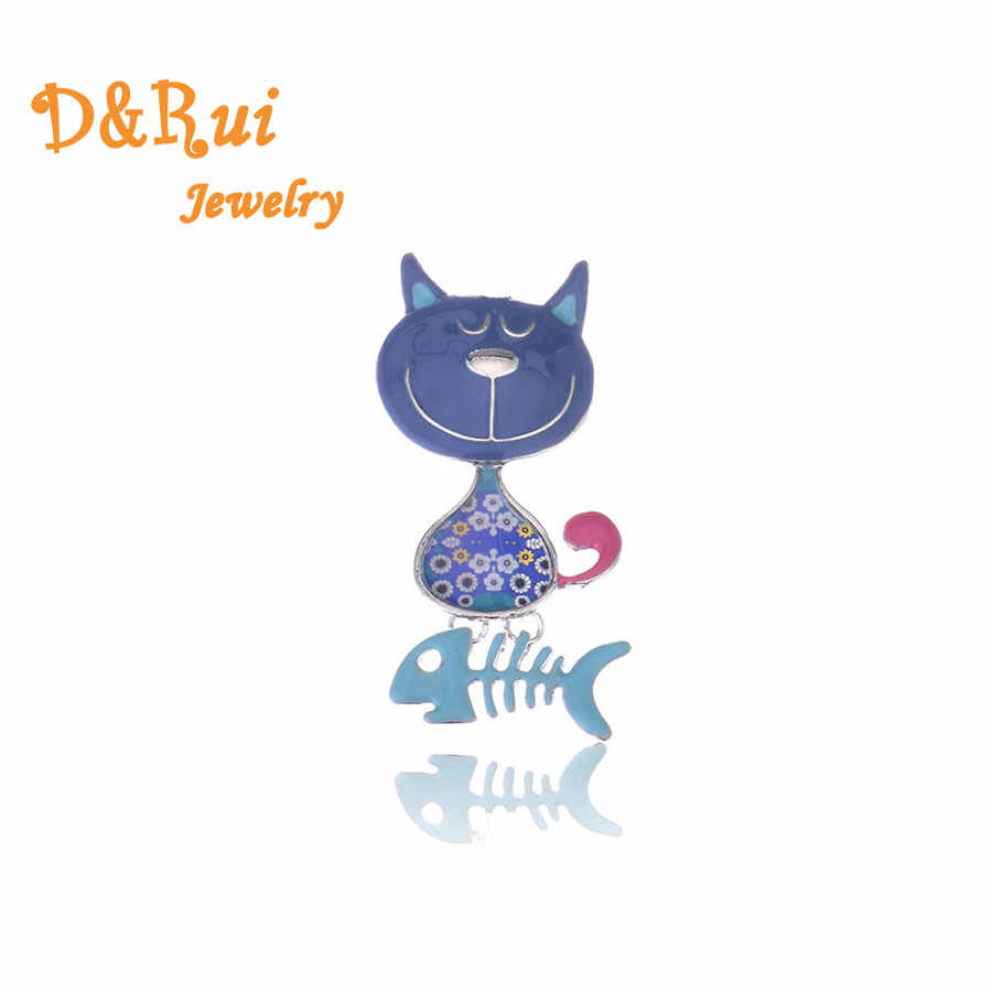Fashion Cute Enamel Brooch Pins Fashion 2019 Jewelry Zinc Alloy Cat&Fishbone Brooches Dress Accessories For Women Brooch Pin