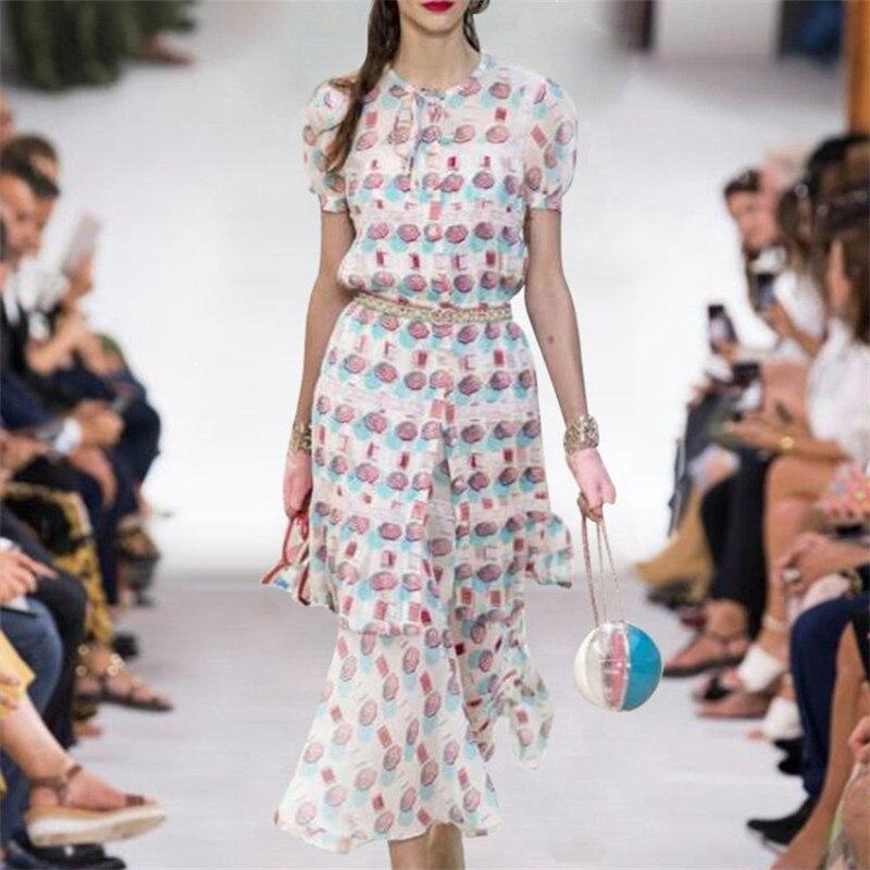 2019 여름 여성 두 세트 긴 블라우스 + 미디 스커트 세트 붕대 o 넥 프린트 싱글 브레스트 우아한 셔츠 런웨이 디자이너-에서블라우스 & 셔츠부터 여성 의류 의  그룹 1