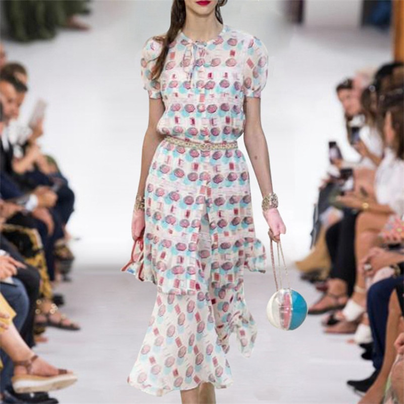 2019 verano Mujer dos conjuntos blusa larga + Falda midi conjunto vendaje cuello redondo estampado solo Breasted elegante camisas pasarela diseñador-in Blusas y camisas from Ropa de mujer    1