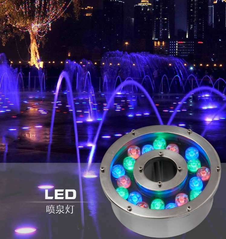 Factory Direct Sales 18W Round Underwater LED Light DC 24V Waterproof IP68 Swimming Pool Lights CE RoHS Pond Lamps Fountain Lamp
