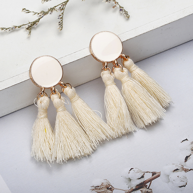 Bohemia Statement Tassel Gold Color Round Drop Earrings 2