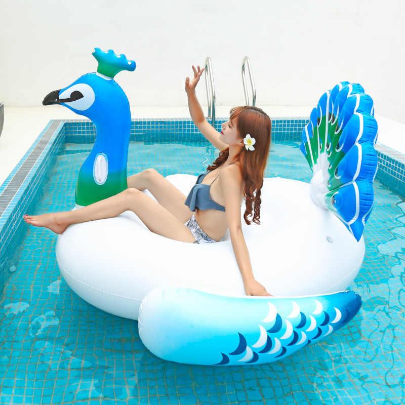 200 см гигантский надувной Павлин бассейн поплавок Забавный пляж плавать вечерние игрушки для бассейна остров летний бассейн плот гостиная для взрослых и детей
