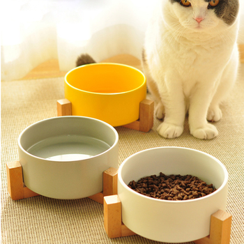 Ceramic Cat Bowl Wooden Frame  1