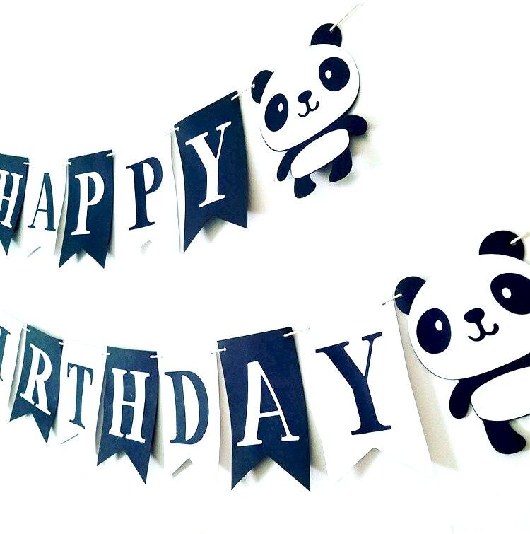 Cartoon Panda Happy Birthday Felt Banner Bunting Garland for Kids boy girl Birthday party baby shower supplies Children favor