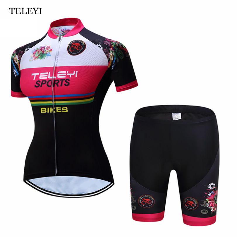 цена на TELEYI Women's Cycling Jersey Team Ropa Ciclismo Bike Short Sleeve Gilrs Clothing Bicycle Bib Shorts Shirt Set