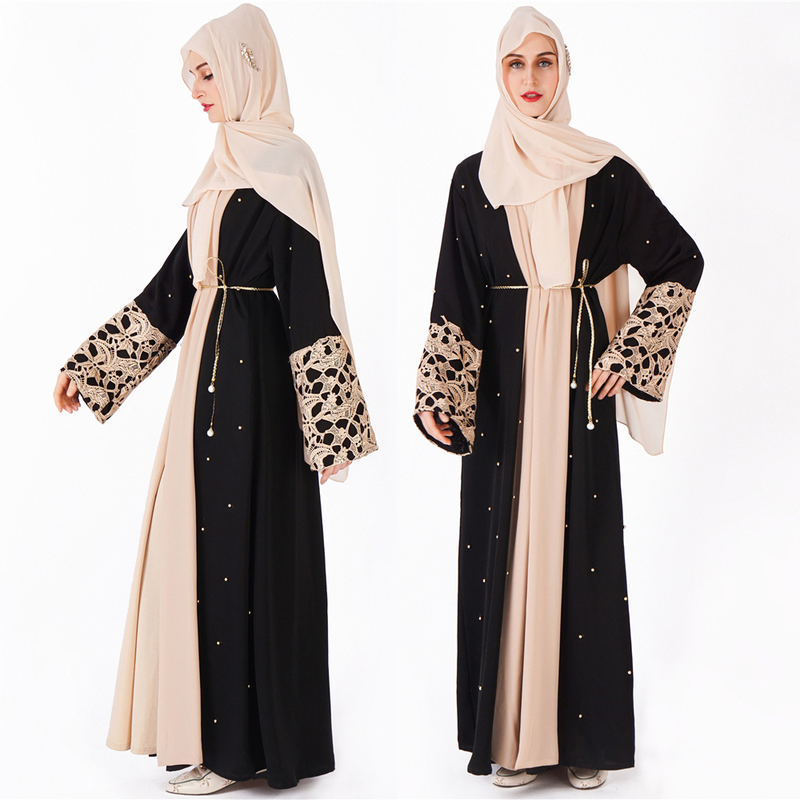 Luxurious Robe Malaysia Abaya Dubai Kaftan Women Beading Pearl Lace Kimono Cardigan Muslim Dress Turkish Islamic Clothing