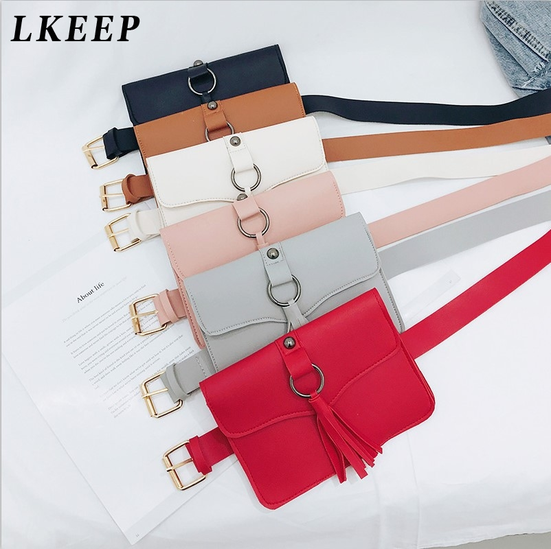 New Fringed Leather Ladies Waist Packs Wallet Purse 2019 Phone Bag PU Fashion Solid Hasp Tassel Leather Belly Bag image