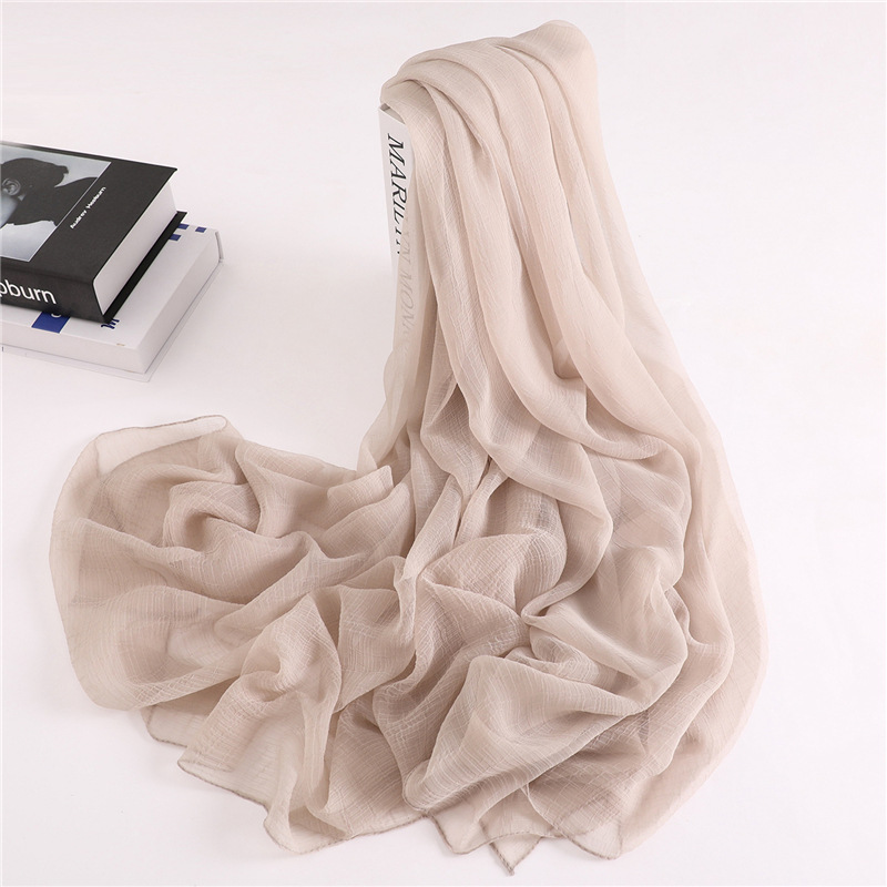 Luxury Brand 2019 New Fashion Summer Solid Silk Scarf Women Shawls and Wraps Bandana Pashmina Beach Hijab Female Foulard in Women 39 s Scarves from Apparel Accessories