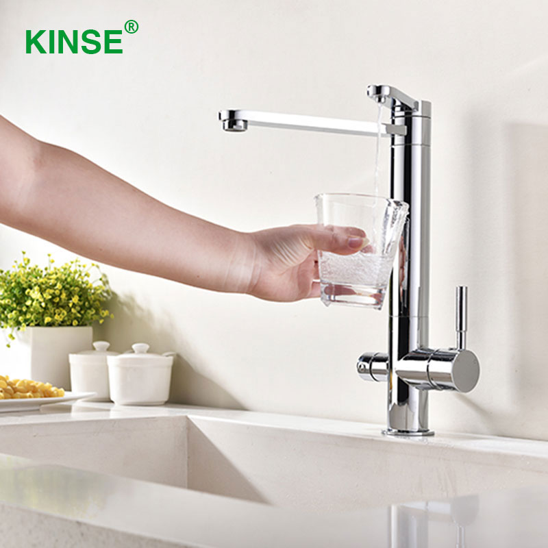 KINSE Top Brass Material Chrome Kitchen Faucets with Filtered Drinking Water Faucet