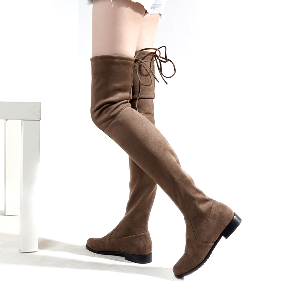 ac68d996baa2 Faux Suede gray black Stretch Low heels thigh high boots women over the knee  boots Ladies lace up Autumn winter boots