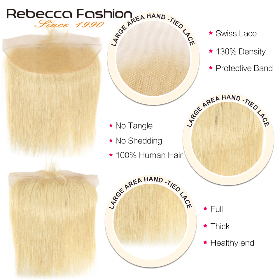 Image 4 - Rebecca 613 Blonde Bundles With Frontal Human Hair Bundles Blonde Malaysian Straight Hair 3 Bundles With Frontal Closure-in 3/4 Bundles with Closure from Hair Extensions & Wigs
