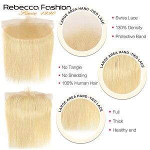 Image 4 - Rebecca 613 sarışın demetleri ile Frontal İnsan saç demetleri sarışın malezya düz saç 3 demetleri ile Frontal kapatma