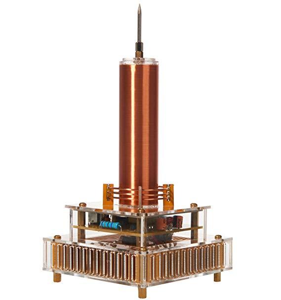 Musique Bobine Tesla Set Mini Bobine Tesla Physicsfun Cuivre Bobine Science Jouet et Cadeau avec Base Acrylique Coquille