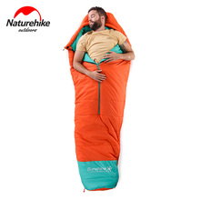 Naturehike outdoor camping sleeping bag hiking mummy cotton with middle zipper Super Long winter Ultralight travel
