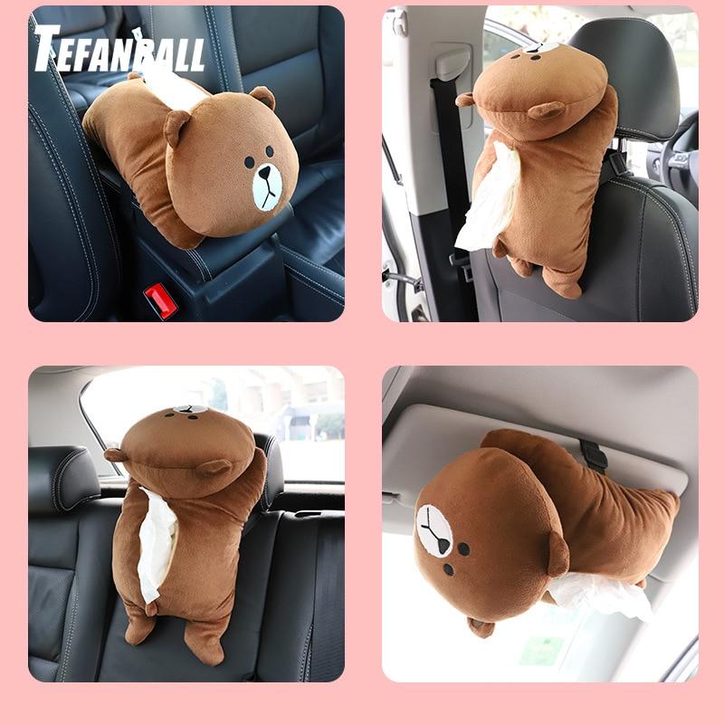 Universal Car Armrest Box Tissue Box Creative Cartoon Cute Tissue Box Car Interior Products Car Accessories Plush Toy Tissue Box