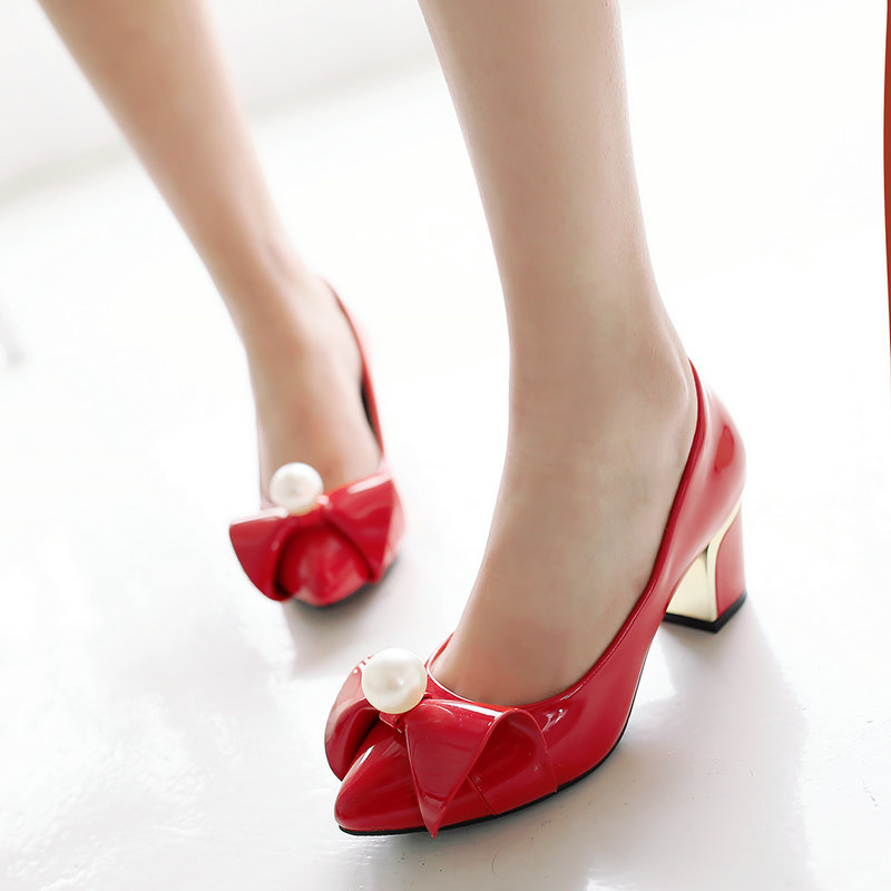 ФОТО Ladies Sweet Bow Thick Heel Shoes Patent Leather Pointed Toe Pumps Shoes Plus Size Black Red Lightpink