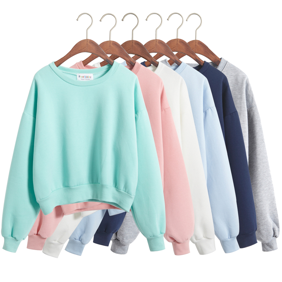 Women Kawaii Preppy Style Solid Color Pullover Sweatshirt Korean Harajuku  High Waist Crop Cute Female Svitshot 1066ac3400
