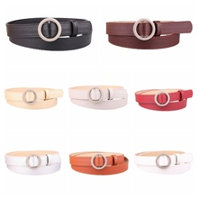 Women Deduction Vintage Metal Buckle Leather Belts Fashion Simple New Circle Pin Buckles Waistband Female Accessories