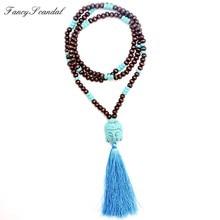 Nouveau design turquoise perle en bois Bouddha pendentif main gland pendentif long collier boho style noué collier femmes bijoux