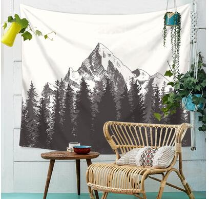 Forest snow mountain tapestry hanging cloth wall decorative tablecloth background cloth hanging curtain rug blanket