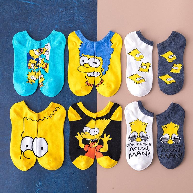 Summer Women Socks 2019 New Cartoon Funny Cotton Socks Simpsons Family Novelty Cute Sox Animals Funny Happy Socks Slippers