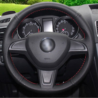 leather hand Top Leather Steering Wheel Hand-stitch on Wrap Cover For Skoda Yeti 2014 2015 2016 Rapid 2015 (1)
