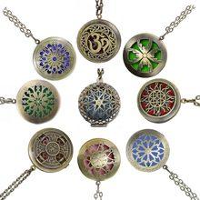 Corrente almofadas de bronze antigo, pingentes de aromaterapia de bronze, óleo essencial, perfume, difusor de aroma, colar, medalhão, 1 peça, 28'