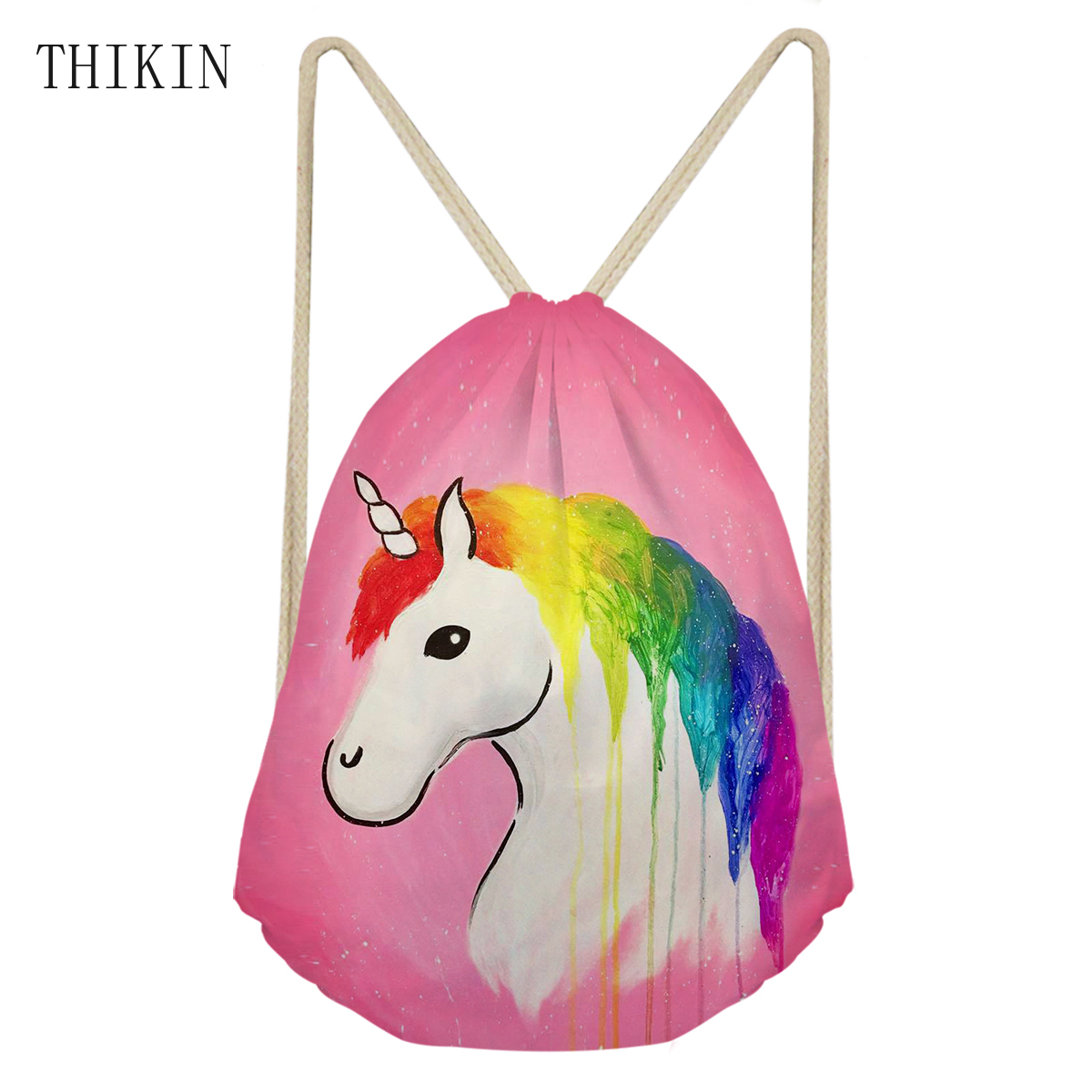 THIKIN Brand Women Rainbow Horse Unicorn Printing Sports Bag Waterproof Draw-string Swimming Bags Cartooon Backpack Bolsa Praia