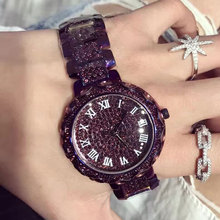 New Arrival Well-known Model Bling Watch Girls Luxurious Austrian Crystals Watch Purple Shinning Diomand Rhinestone Watches For Girls