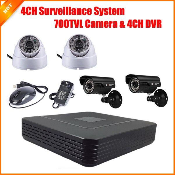 bilder für CCTV 4CH Volle D1 P2P HDMI H. 264 Mini DVR Videoüberwachung System Sicherheitssystem HD CMOS 700TVL IR Kamera Kit