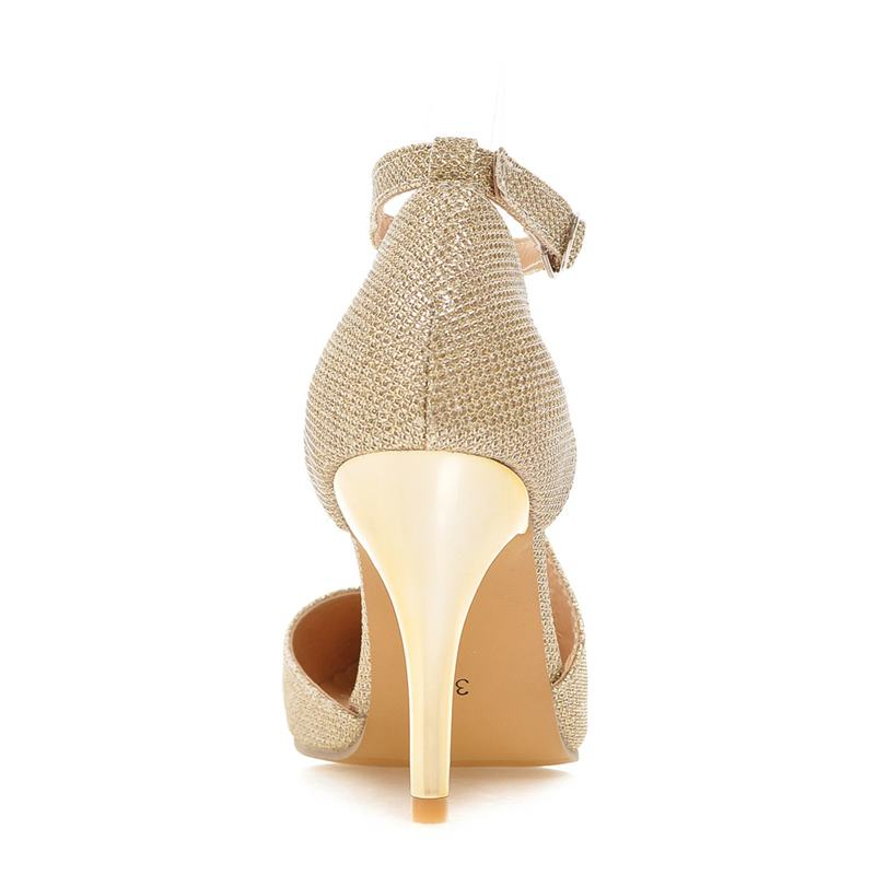 pumps punta argento Top Up Buckle Gold argento donna 32 Heels Size a sera 43 oro Lady Asumer Lace Scarpe Big Thin Pu da Fashion punta 47w1Z8qn