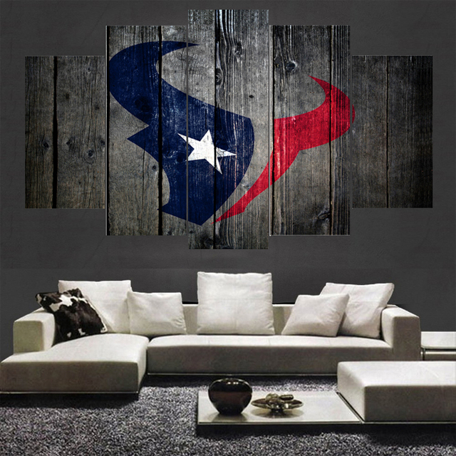 Newest Rugby Ball Houston Texans Logo Paintings Wall Home Decor