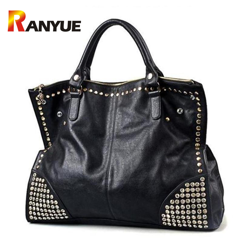 Big Capacity Luxury Handbags Women Bags Designer Black Punk Rivet Bag Black Leather Women Crossbody Bags Famous Brand Sac A Main 2016 new rivet brand women messenger bag leather tote bags for women luxury handbags famous designer bags ladies sac a main
