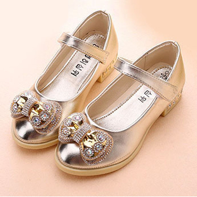 2017 Autumn Rhinestone Girls Childen Flats Shoes Crystal Bow Kids Girls Ballet Shoes Slip on Toddlers Ballerinas Zapatos Ninas