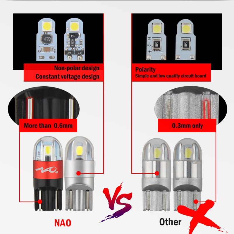 NAO T10 W5W bombilla LED 3030 SMD 168 de 194 accesorios del coche de las luces de lectura de la lámpara Auto 12 V ámbar blanco cristal azul rojo Motor
