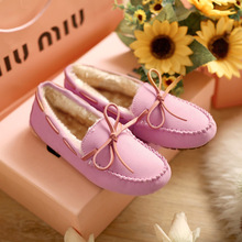 2016 New Casual Bowtie Loafers Sweet Candy Colors Women Flats Solid Winter Style Shoes Woman 4 Colors Boat Shoes Size 35-40