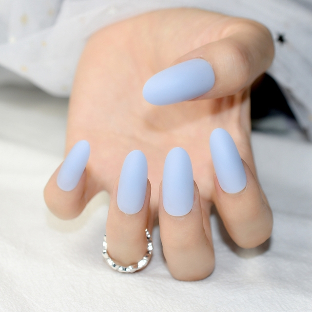 24pcs Long Matte Nail Tips Oval Sky Blue Candy Color Artificial Pre Designed Nails Kit