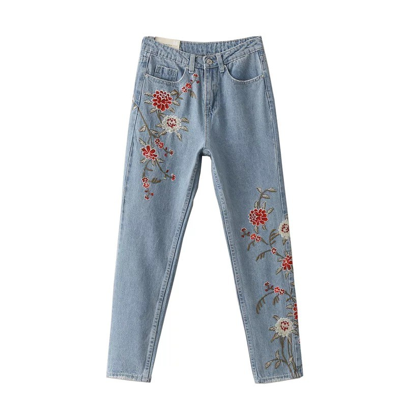 Fashion Vintage Flower Embroidery Women Light Blue Casual Pants Pockets Bottom Straight Jeans flower embroidery jeans female blue casual pants capris 2017 spring summer pockets straight jeans women bottom a46