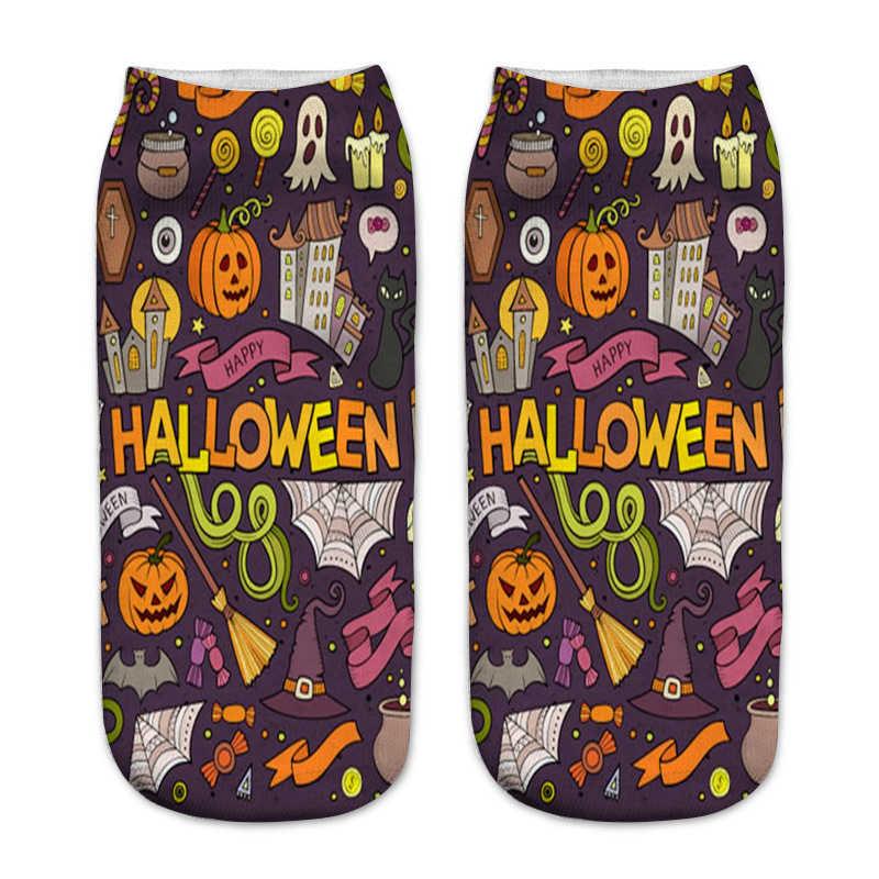 78d85eec2aa3a ... Новинка 2018 года для женщин забавные Happy Halloween 3D печатных носки  для девочек тыква фонари замок ...