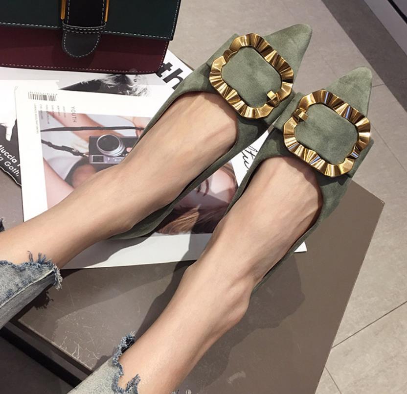 Polyvalent Automne Printemps En Profonde Daim vert Pointu Métal Nouvelle Noir Chaussures Femmes 2019 Et Peu coréen De Mode Boucle 7r5xRw7q