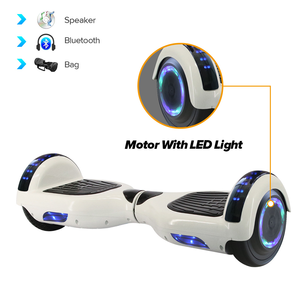 iScooter Elektro Hoverboard Gyroscooter 6.5inch Selbstausgleich Roller Led Motor Light Wheels Bluetooth Skateboard mit Tasche