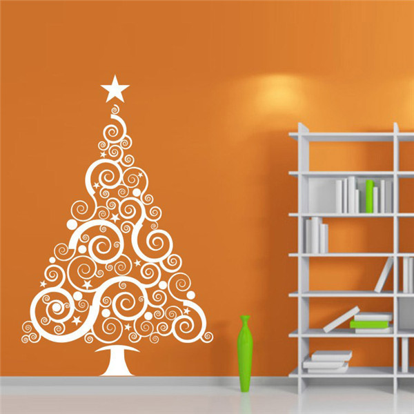 Large christmas vinyl wall decal sticker christmas tree for Christmas wall mural plastic
