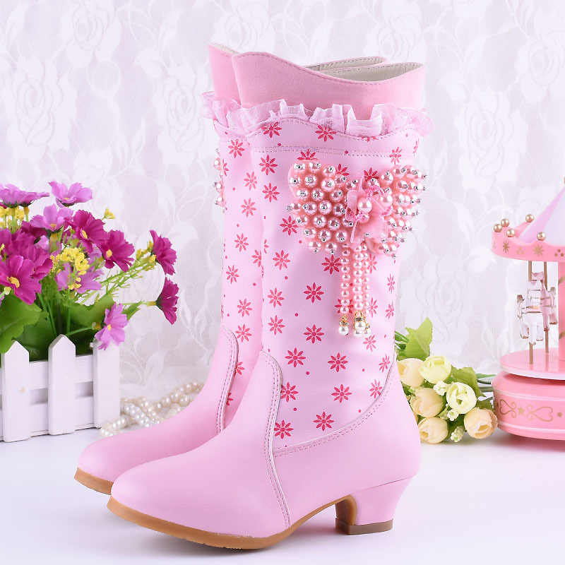 Kids Low-heeled Fashion Boots Princess Mid-calf Boots Beading Flower Wedding Party Boutique Boots PU Leather Pink Purple Shoes