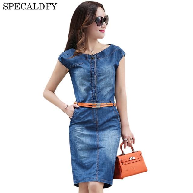 Summer Denim Dress Women Sleeveless Vintage Casual Vestido Jeans ...