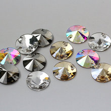 Excellent Crystal AB Rivoli Sew On Stone Flatback Sewing beads All Size Round Glass Sewing Crystal Beads Dress Making